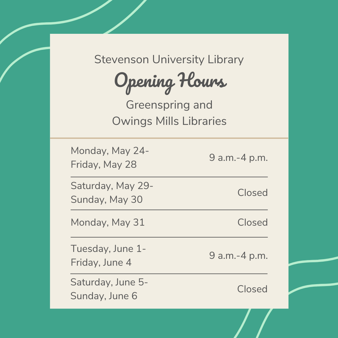 Greenspring and Owings Mills library hours for May 24-June 6