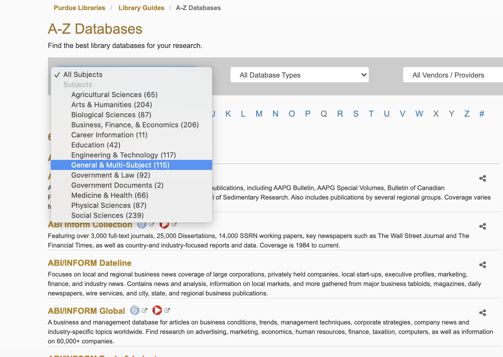 Use the All Subjects drop-down menu to filter for different subject databases.