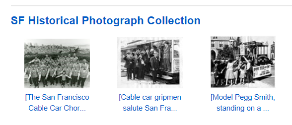 Image of SF Historical Photograph Collection screenshot of cable cars