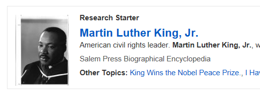 Image of a Martin Luther King, Jr. Research Starter screenshot