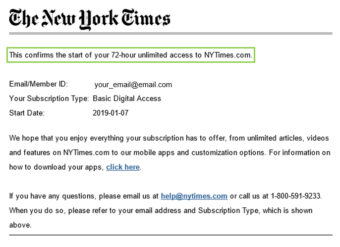 Screenshot of NYT confirmation email