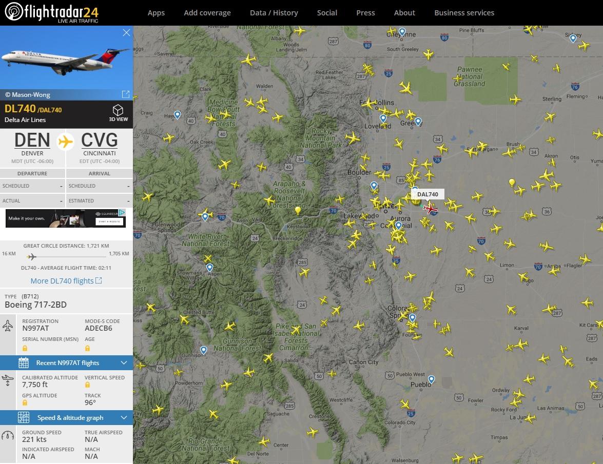 Worldwide live flight traffic