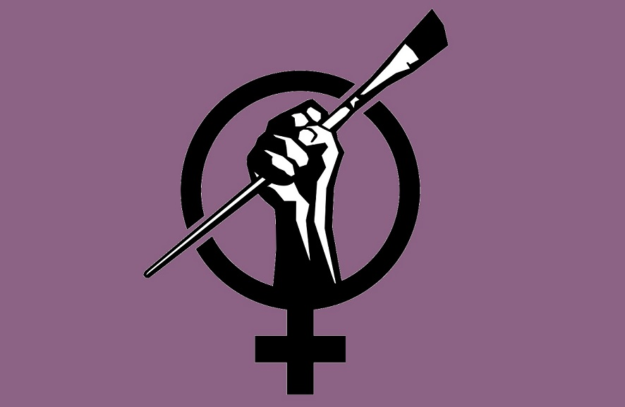Hand holding paint brush in a fist, superimposed in the center of the female symbol.