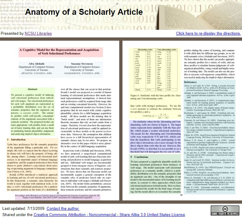 Image of the website Anatomy of a Scholarly Article. Follow the link embedded in the image to the website.
