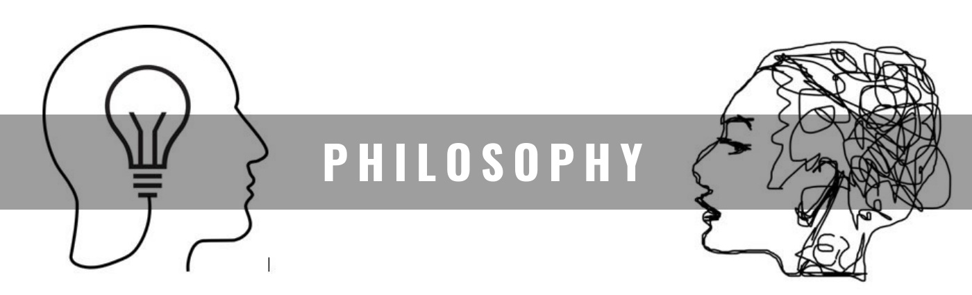 "Image of two drawn figures looking at each other and in the middle it says ""Philosophy"""