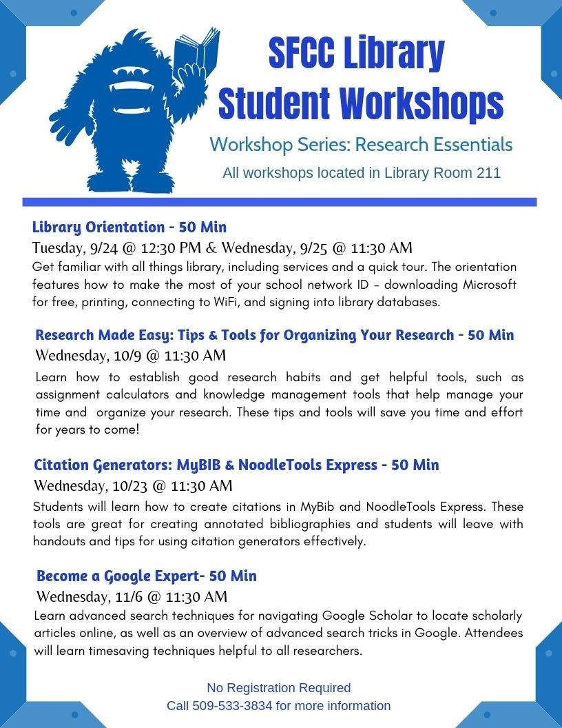 See Transcript Below for this Image: SFCC Library: Fall 2019 Student Workshops