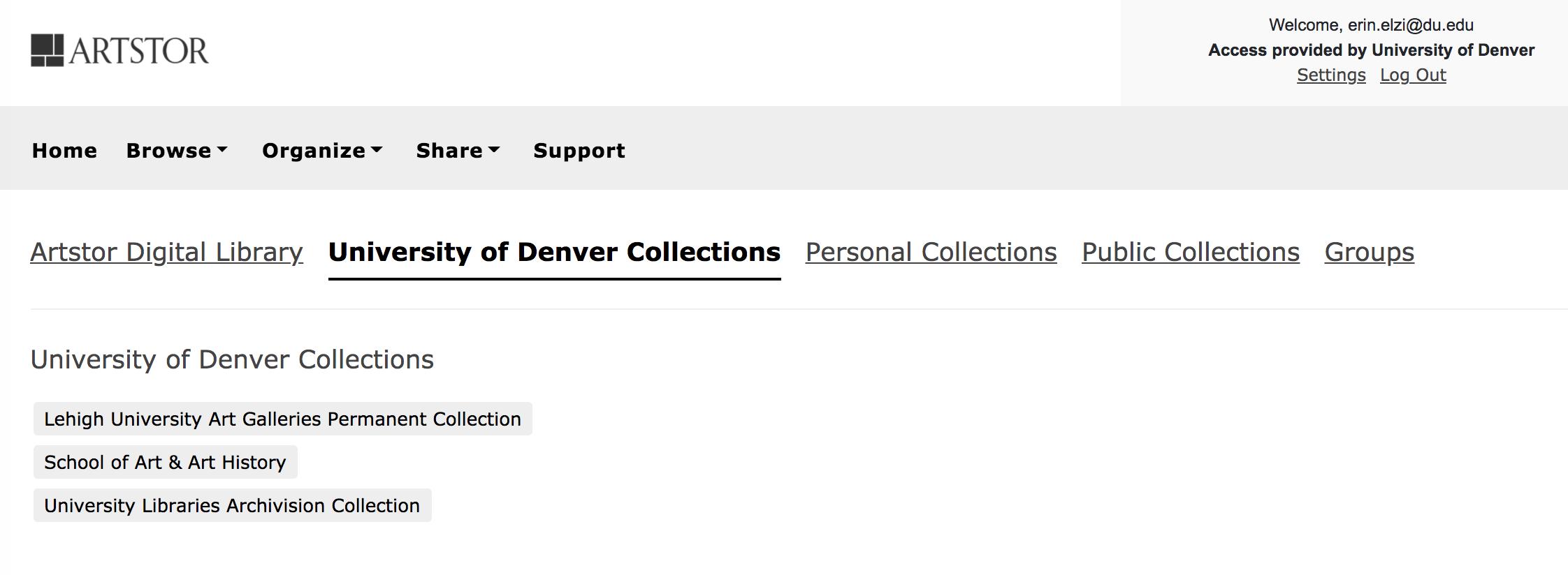 Screenshot Artstor Institutional Collections