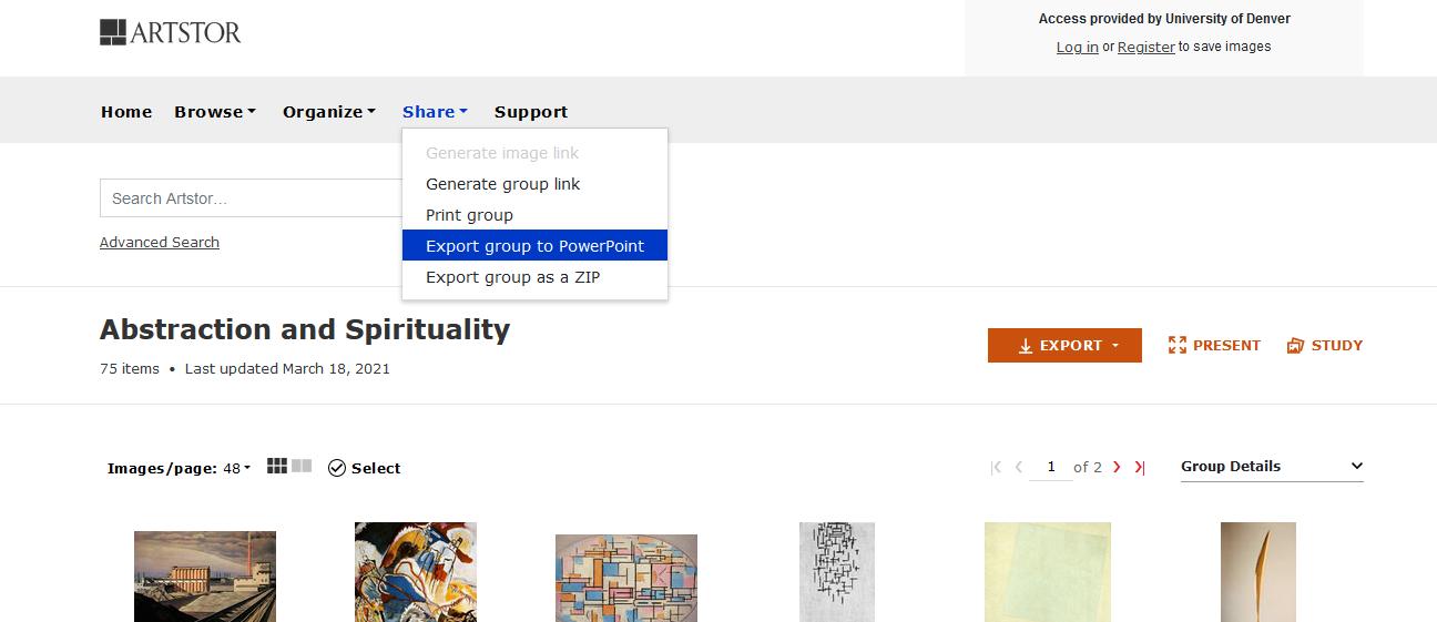 Screenshot of share drop down menu in Artstor