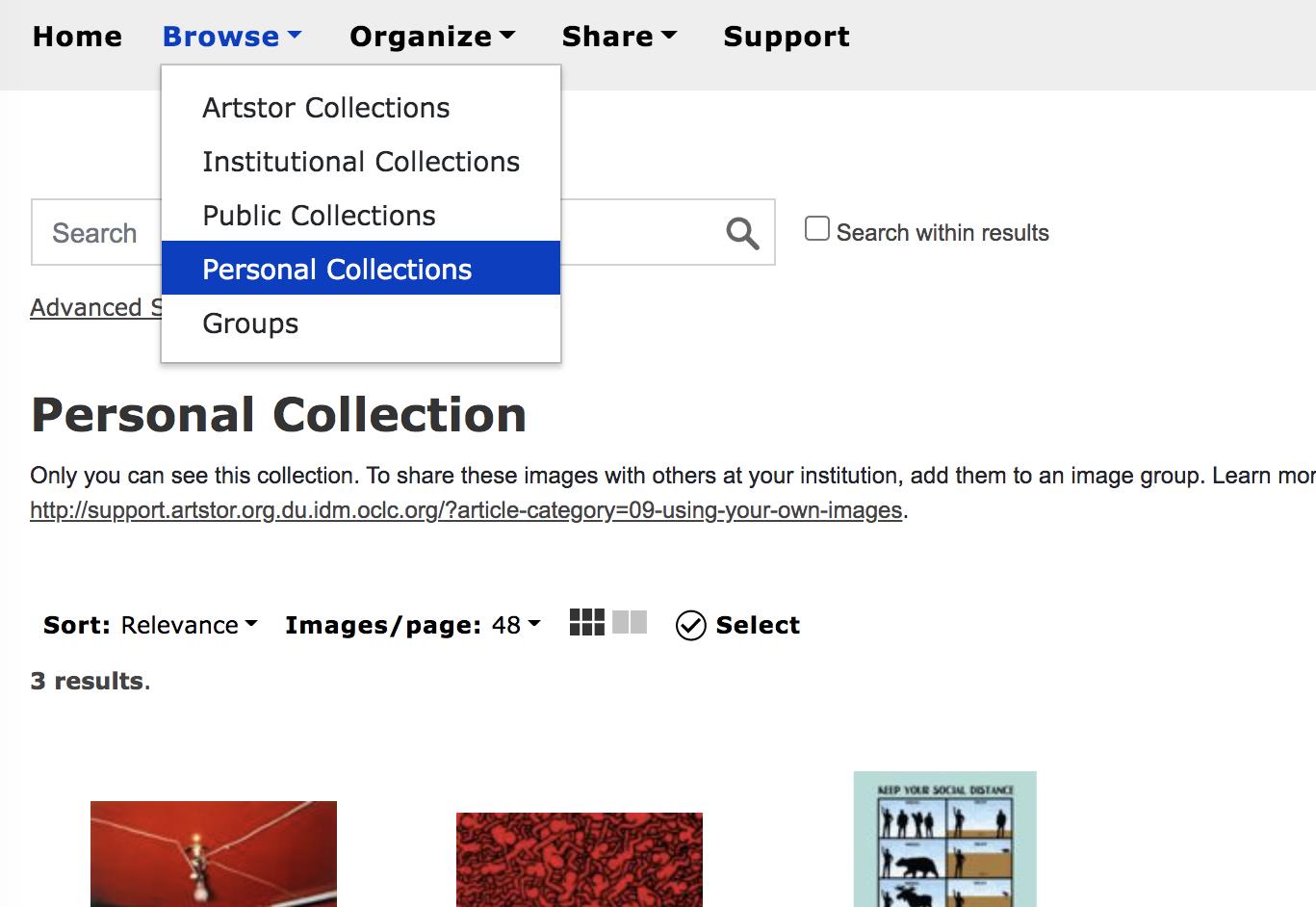 Screenshot of Artstor Personal Collections