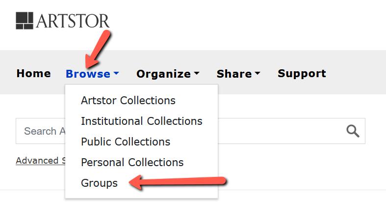 Screenshot of accessing groups in Artstor