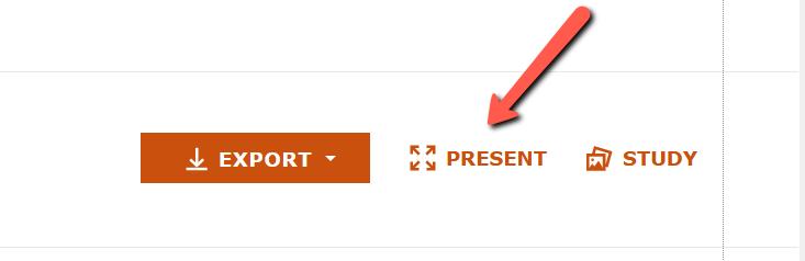 Screenshot of present function in Artstor