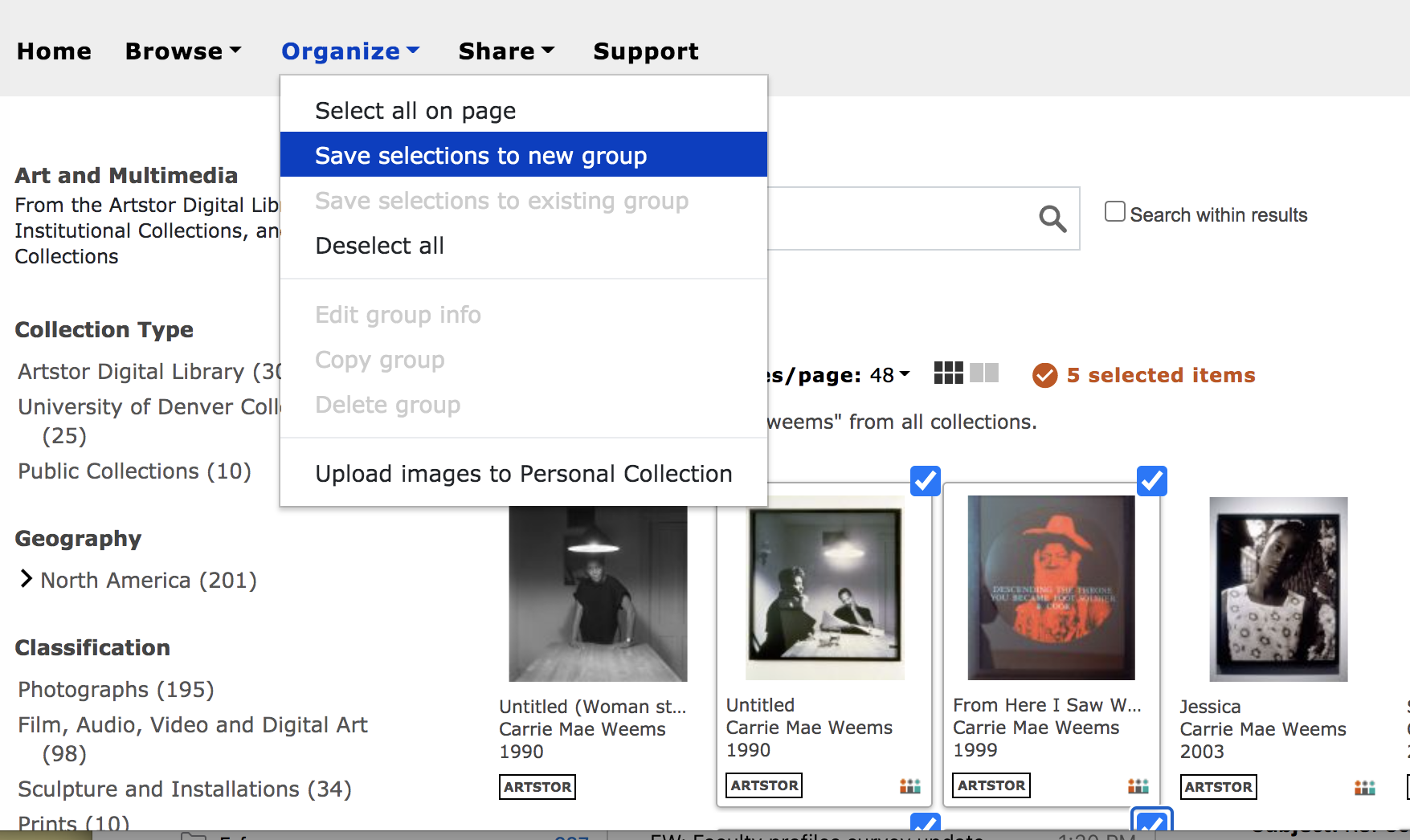 Screenshot of Save Selection to Group Function