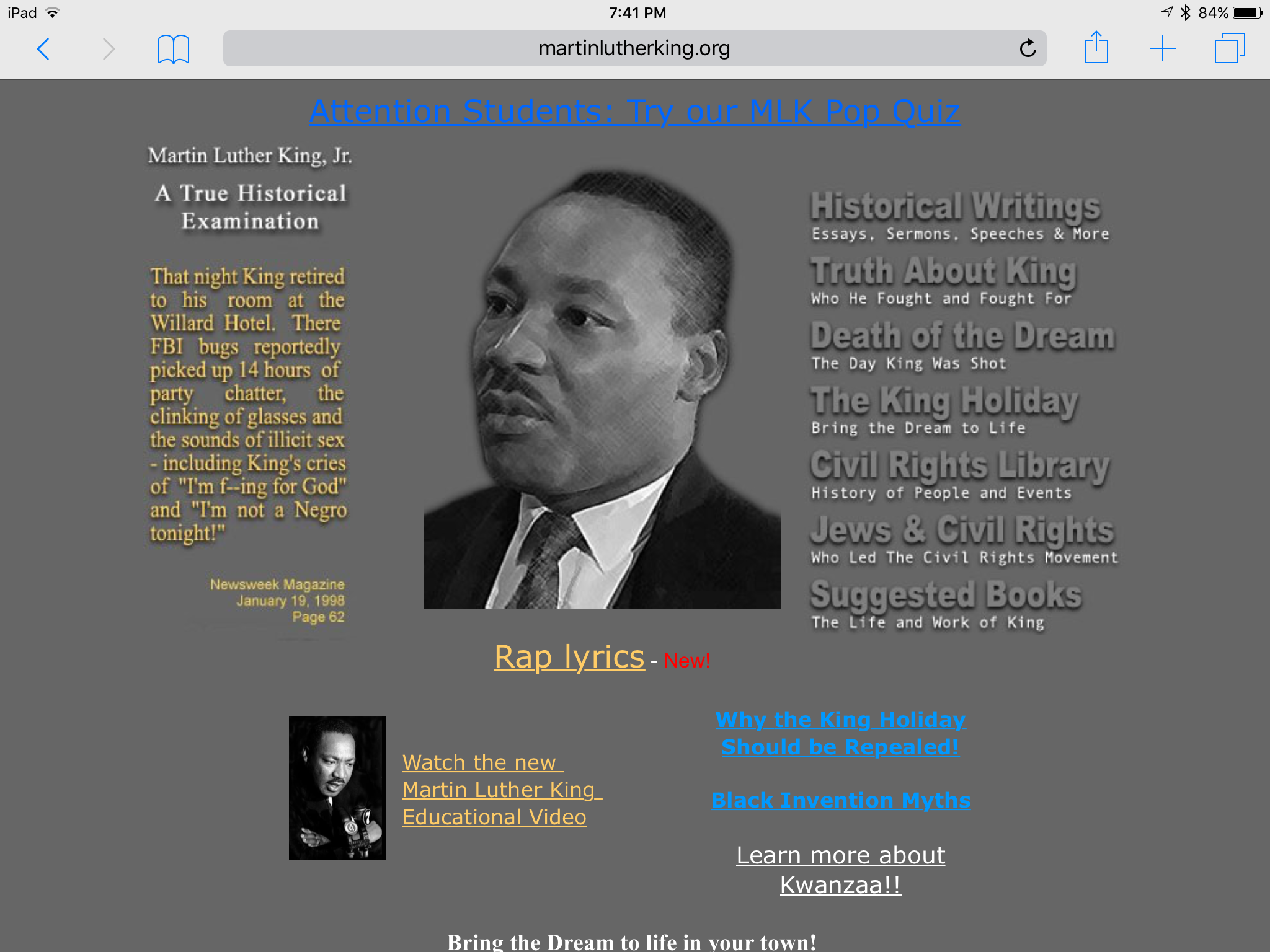A screenshot fo martinlutherking.org