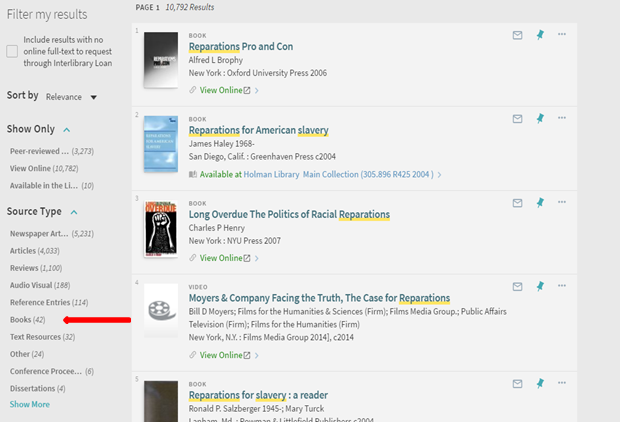 screenshot of how to limit to books in the library's catalog
