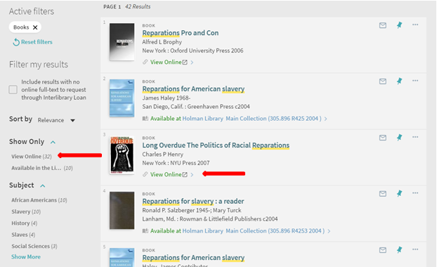 screenshot of how to limit to ebooks