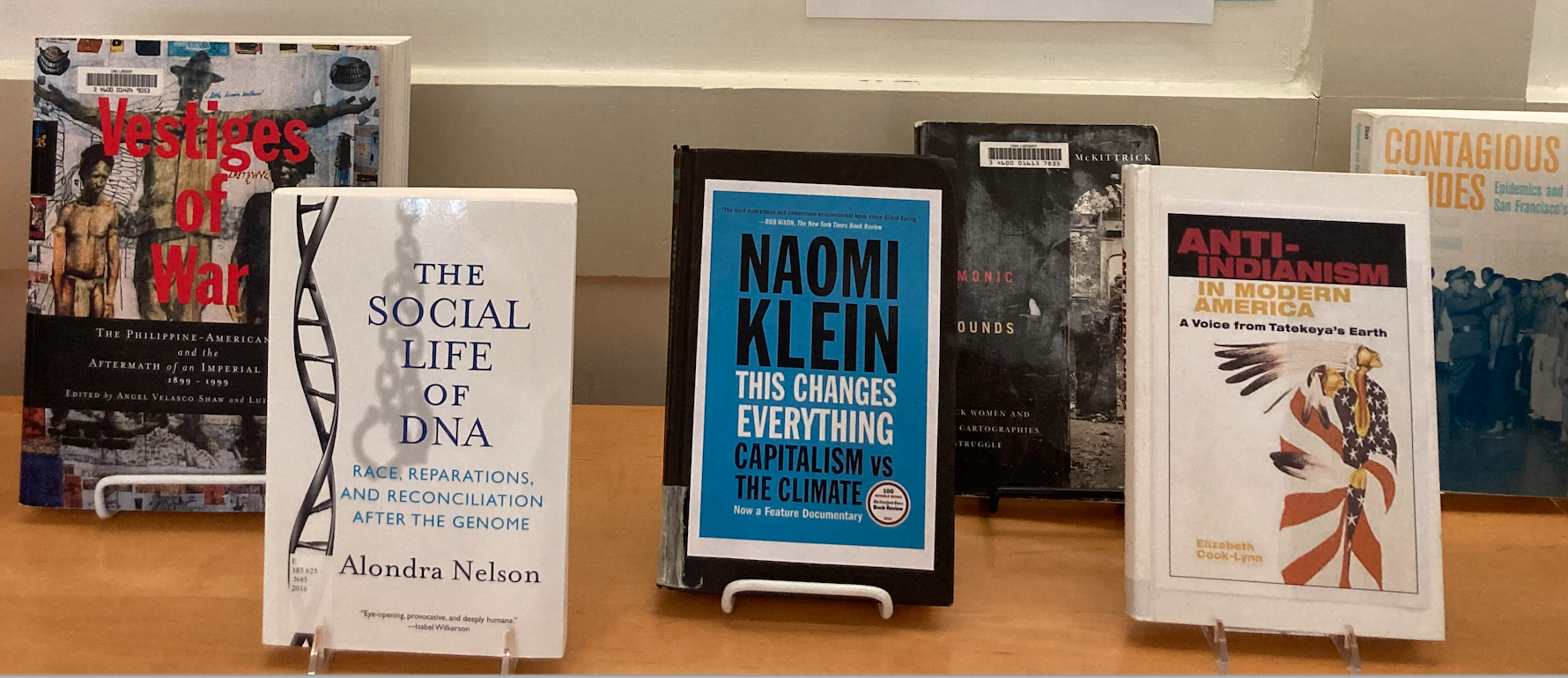 Picture of book display in the lobby of the Dimond Library