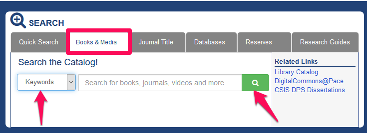 Screenshot of the library homepage with Books & More highlighted and the keyword search menu highlighted.