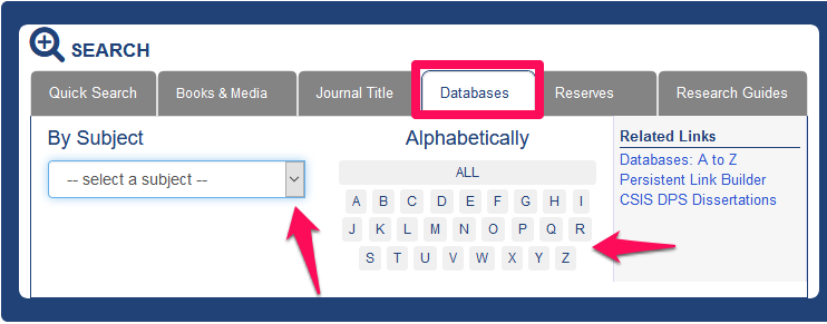 Screenshot of the library homepage with the databases tab highlighted. The subject drop-down menu is also highlighted. This image hyperlinks to the library homepage.