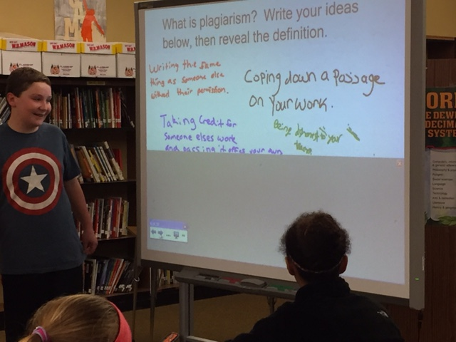 Using the smartboard to learn about plagiarism