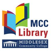 """Logo for Middlesex Community College Library. At the bottom is the MCC logo, blue background with white letters saying """"Middlesex Community Collge"""" and am image of architectural colums supporting a softly pointed roof, in the Classical style. Above is a multicolored abstract image of an open book, with the pages being differerent colors : dark blue, organge, red, light blue, yellow and green. Next to the image is the text """"MCC Library"""" with MCC in blue and Library in red."""