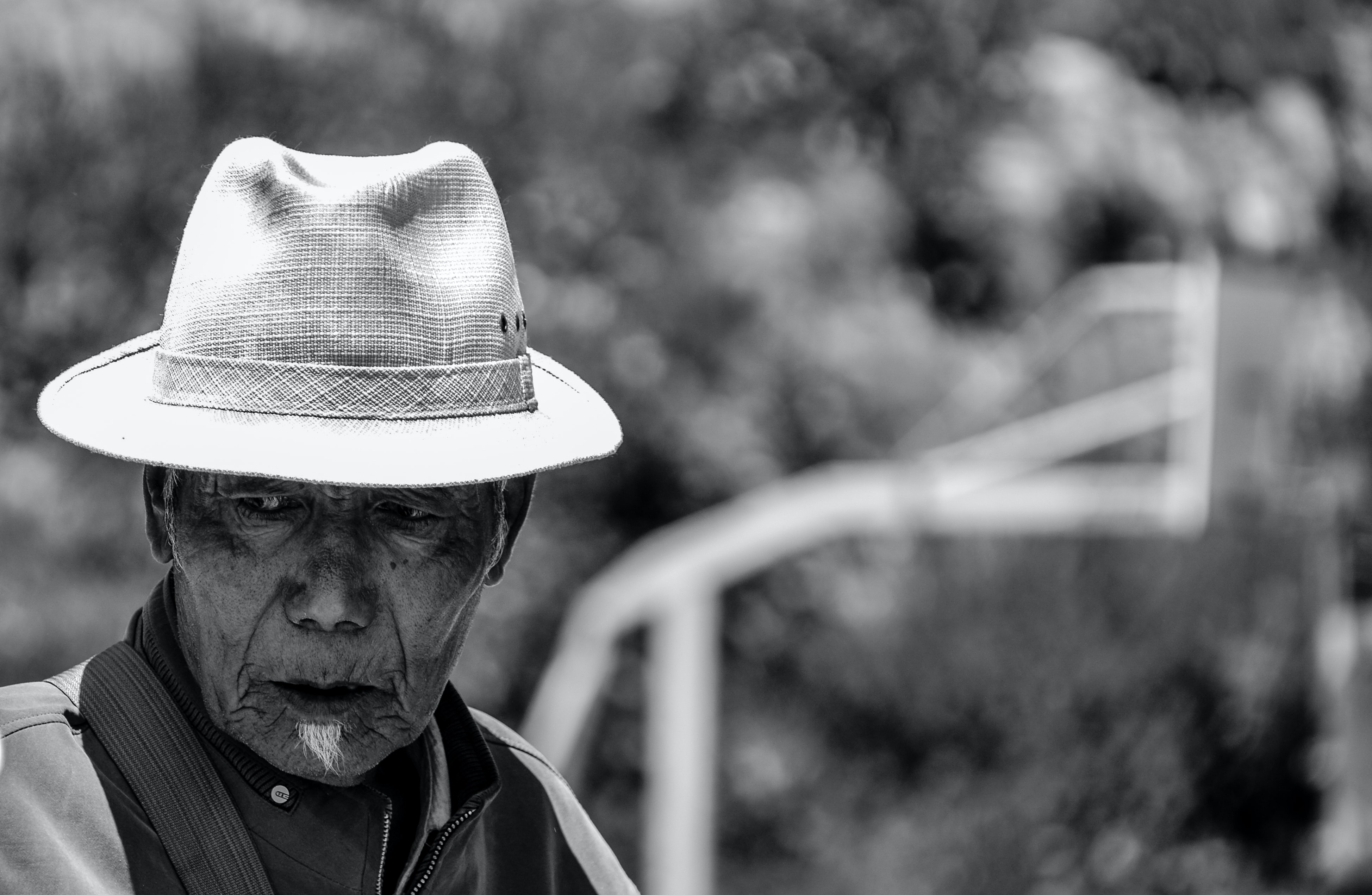 old Tibetan man in black and white