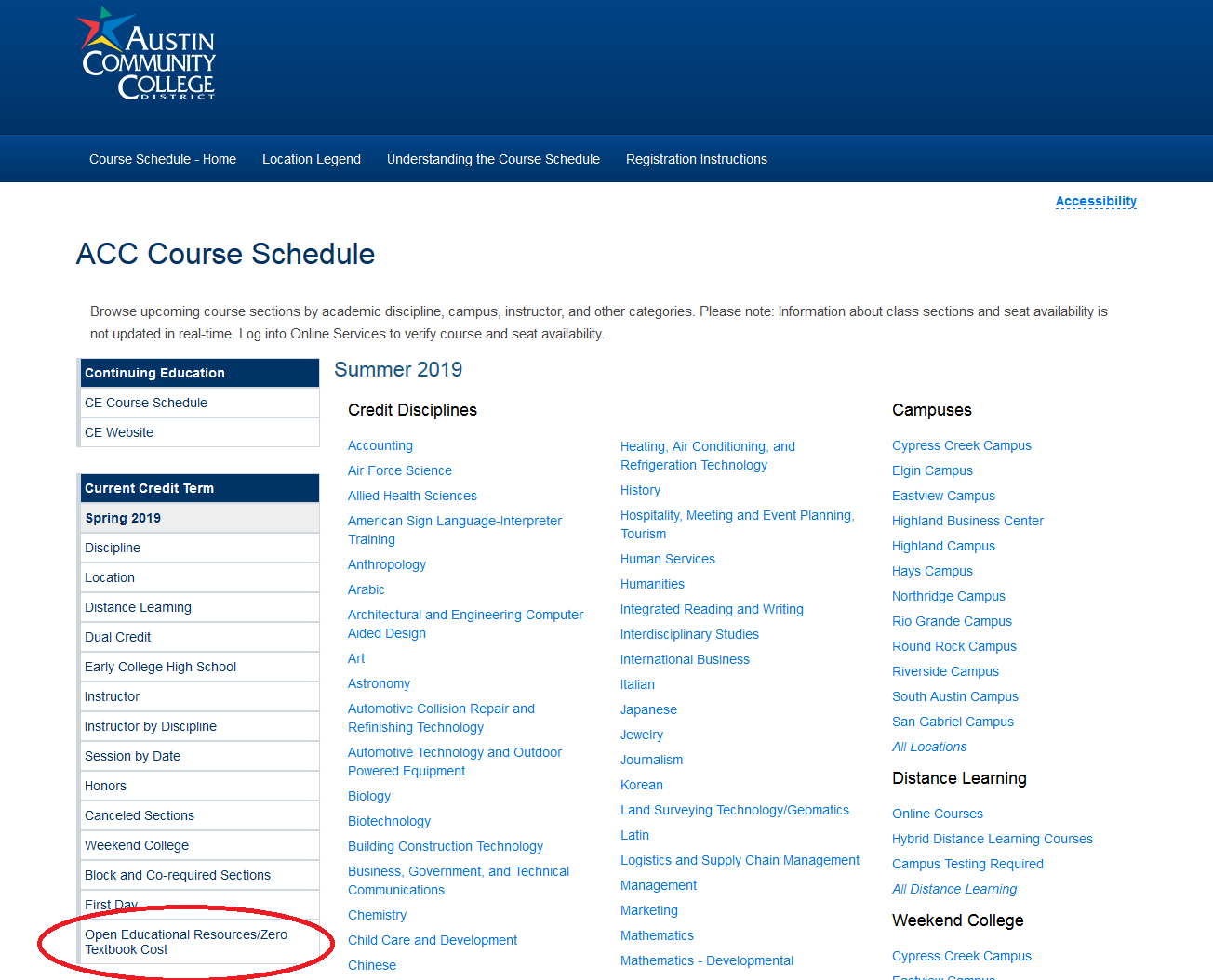 Austin Community College's Course Schedule includes a filter for Open Educational Resources/Zero Textbook Cost.