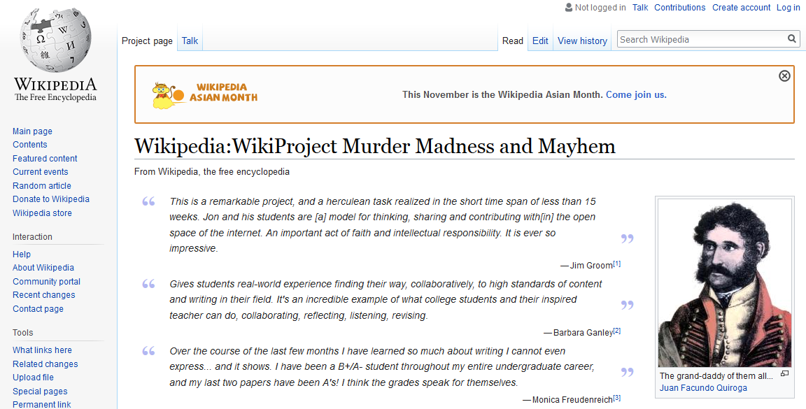 Image of Wikipedia page for Murder, Madness, Mayhem course project