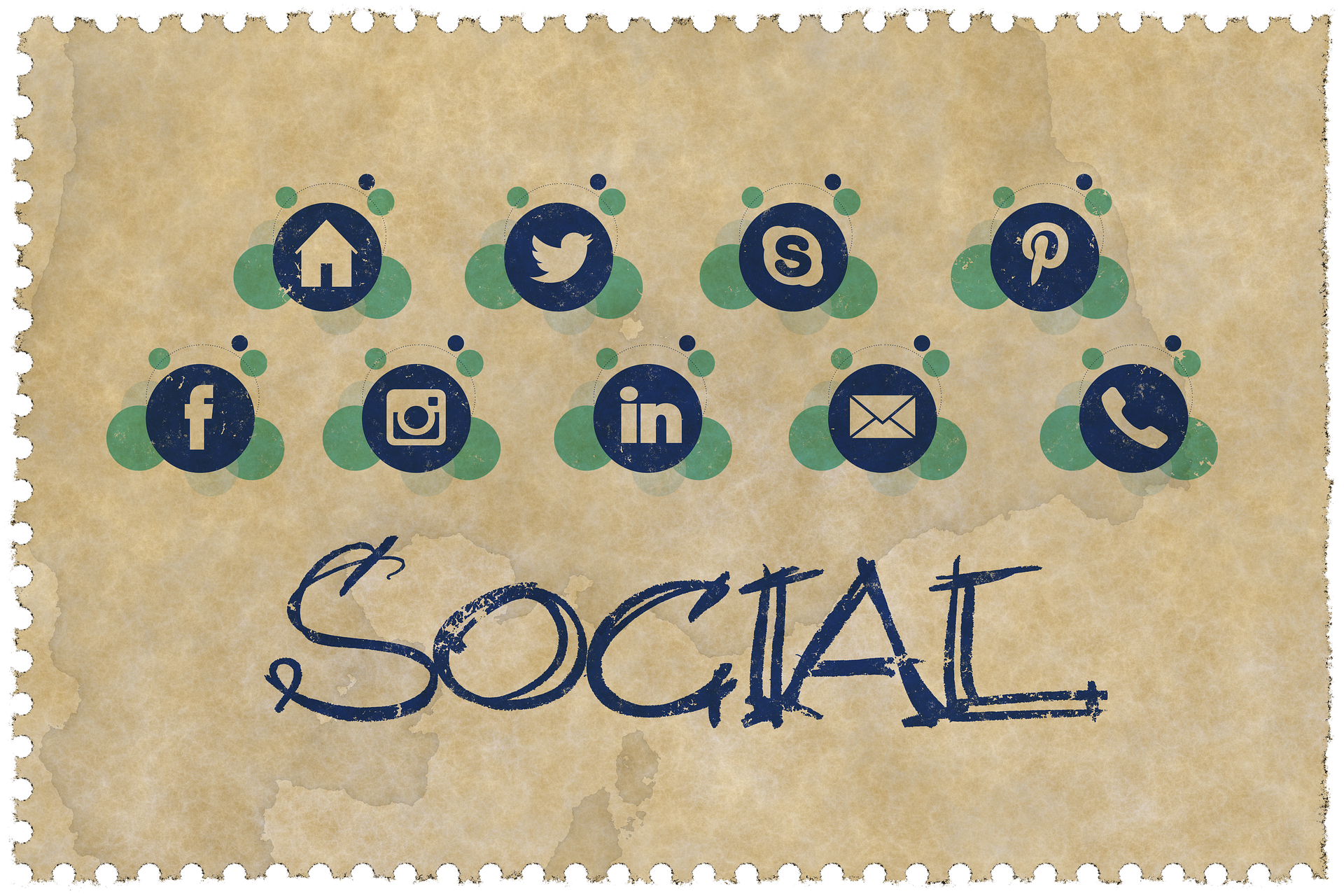Social media icons grouped together in banner