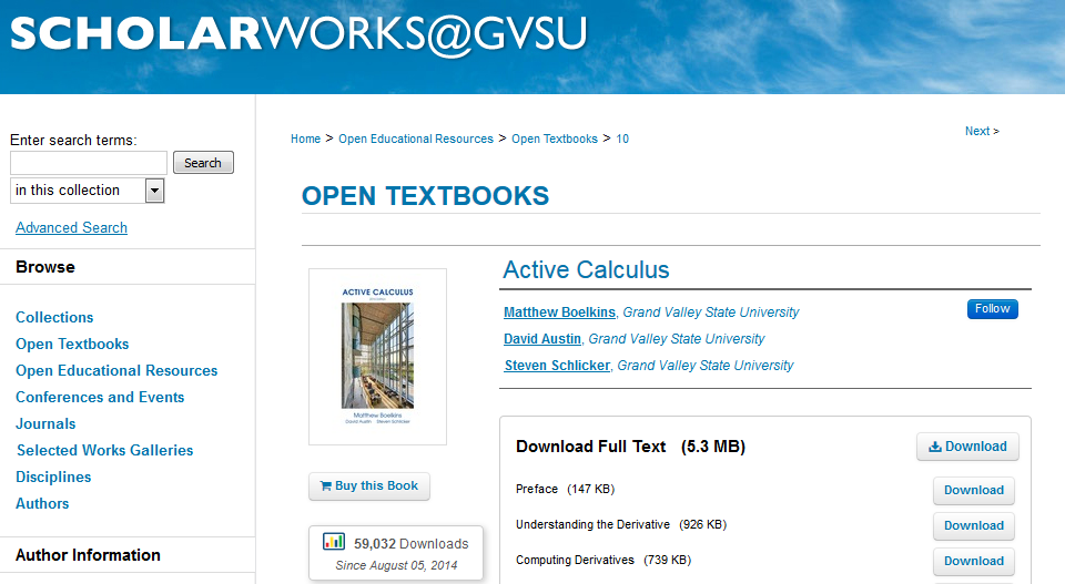 Active Calculus Record in ScholarWorks@GVSU