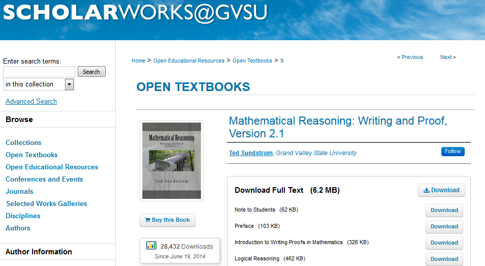Mathematical Reasoning: Writing and Proof, Version 2.1 is available in Scholarworks@gvsu