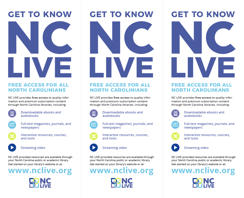 Get to Know NC LIVE General Rack Card