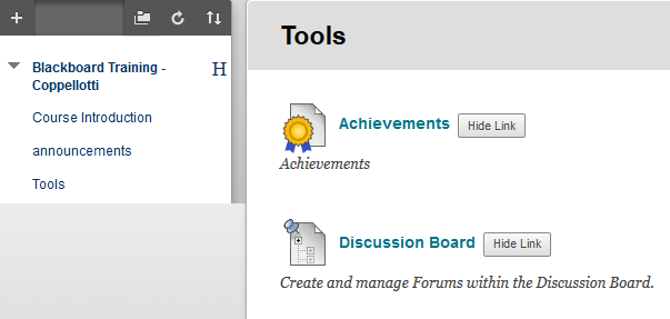 Screenshot of step 1: Tools > Discussion Board
