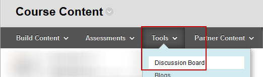 Screenshot of Step 2: tools > Discussion Board