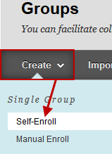 Screenshot of Step 2: Create Single Group > Self-Enroll