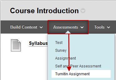 Screenshot of step 2 Assessments > Turnitin Assignment