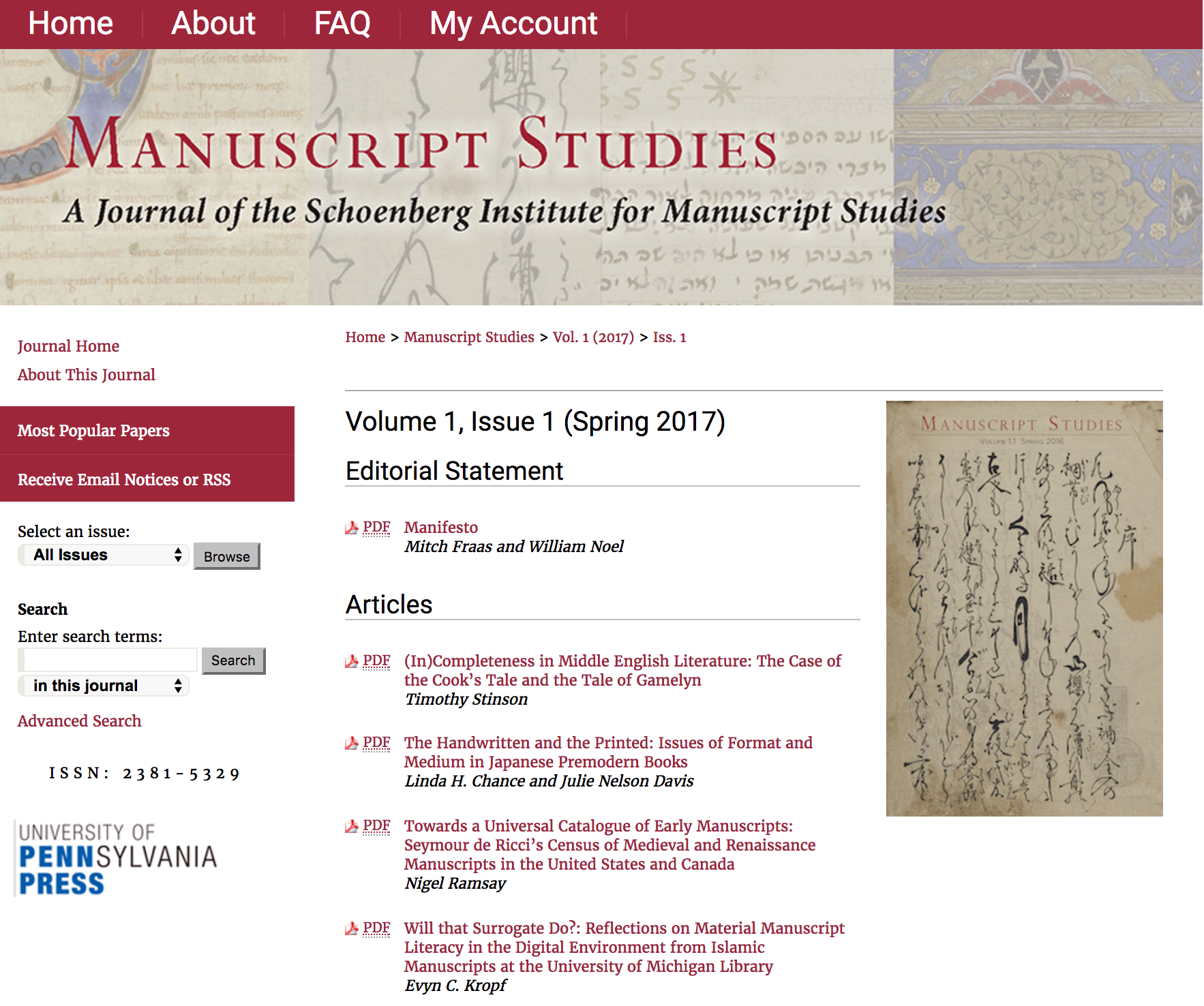 Manuscript Studies Journal Homepage