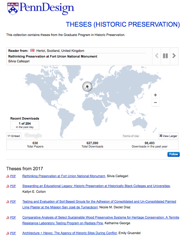 Screenshot of Historic Preservation Theses collection in ScholarlyCommons