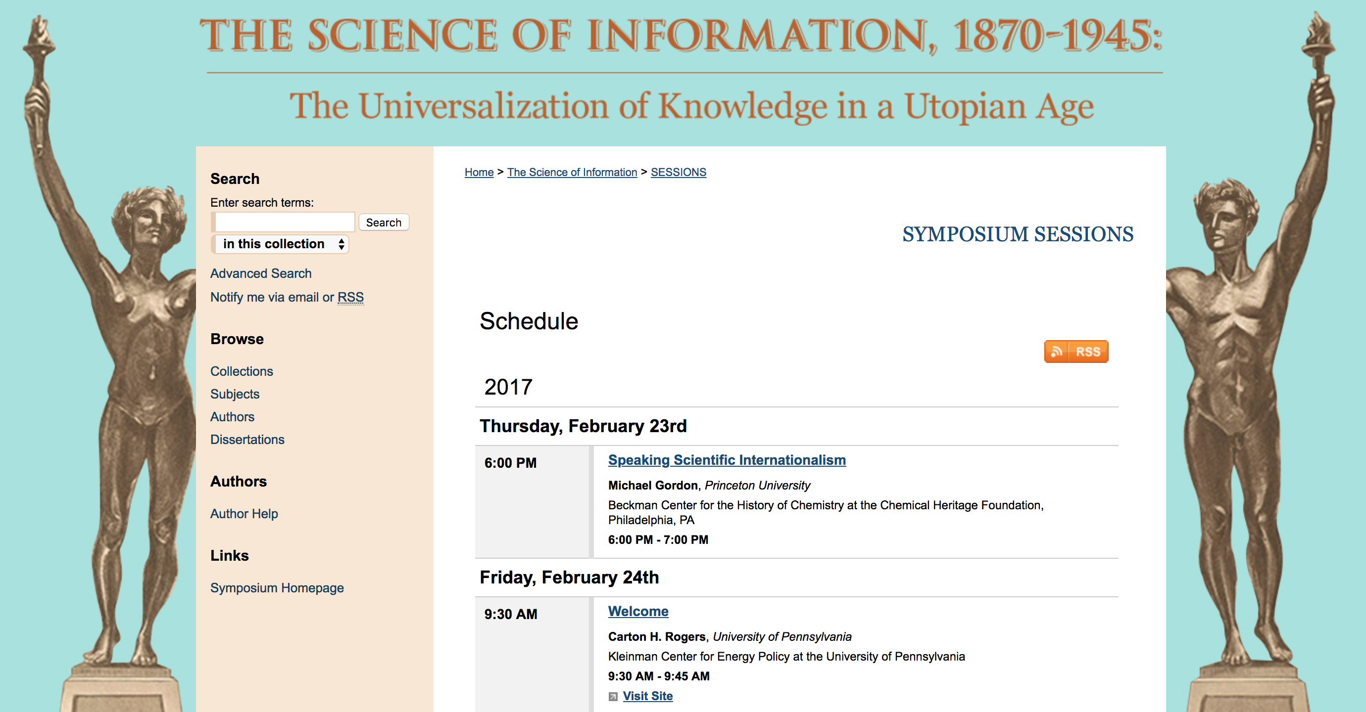 Screenshot of The Science of Information repository collection
