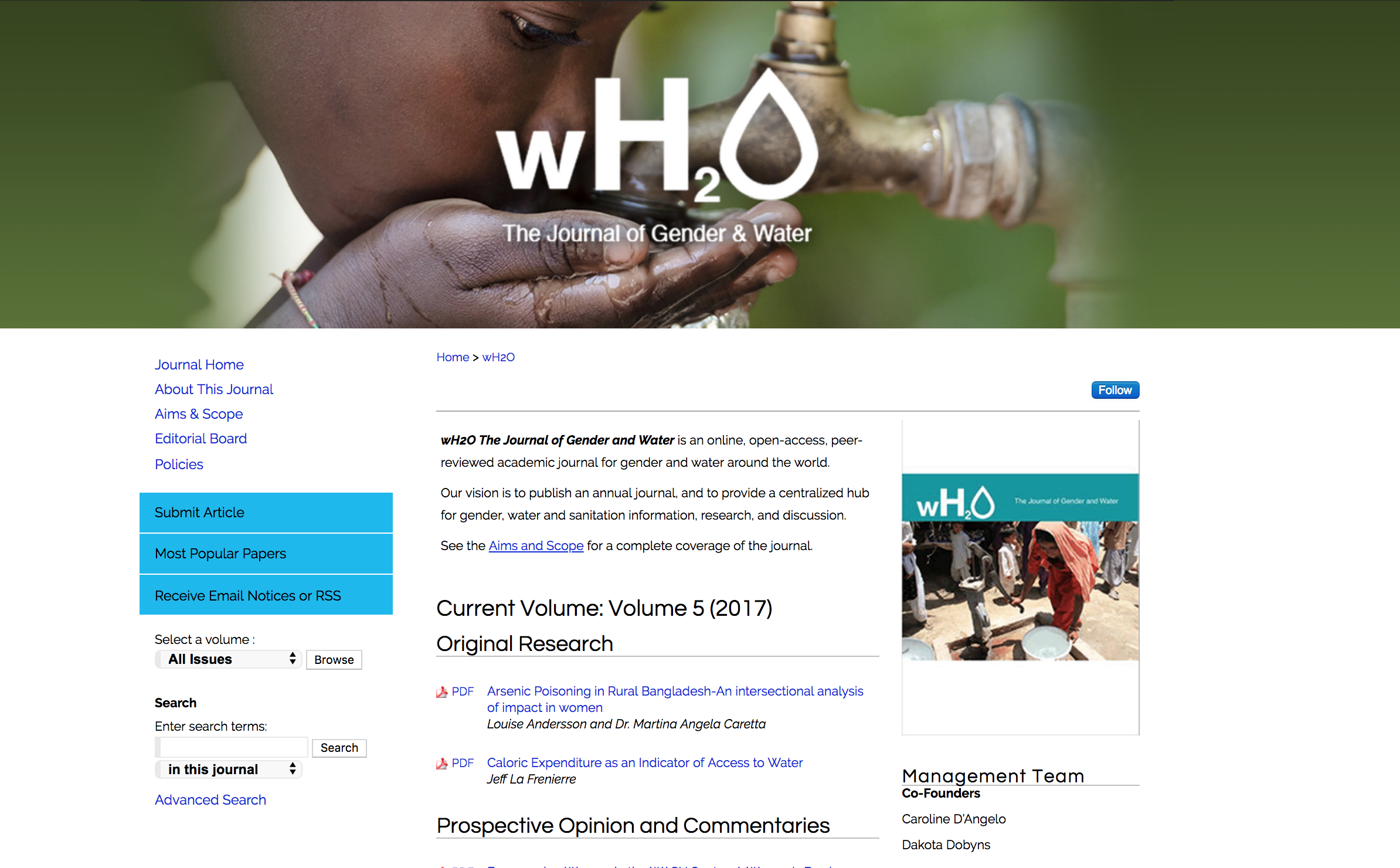 Screenshot of the wH2O repository homepage