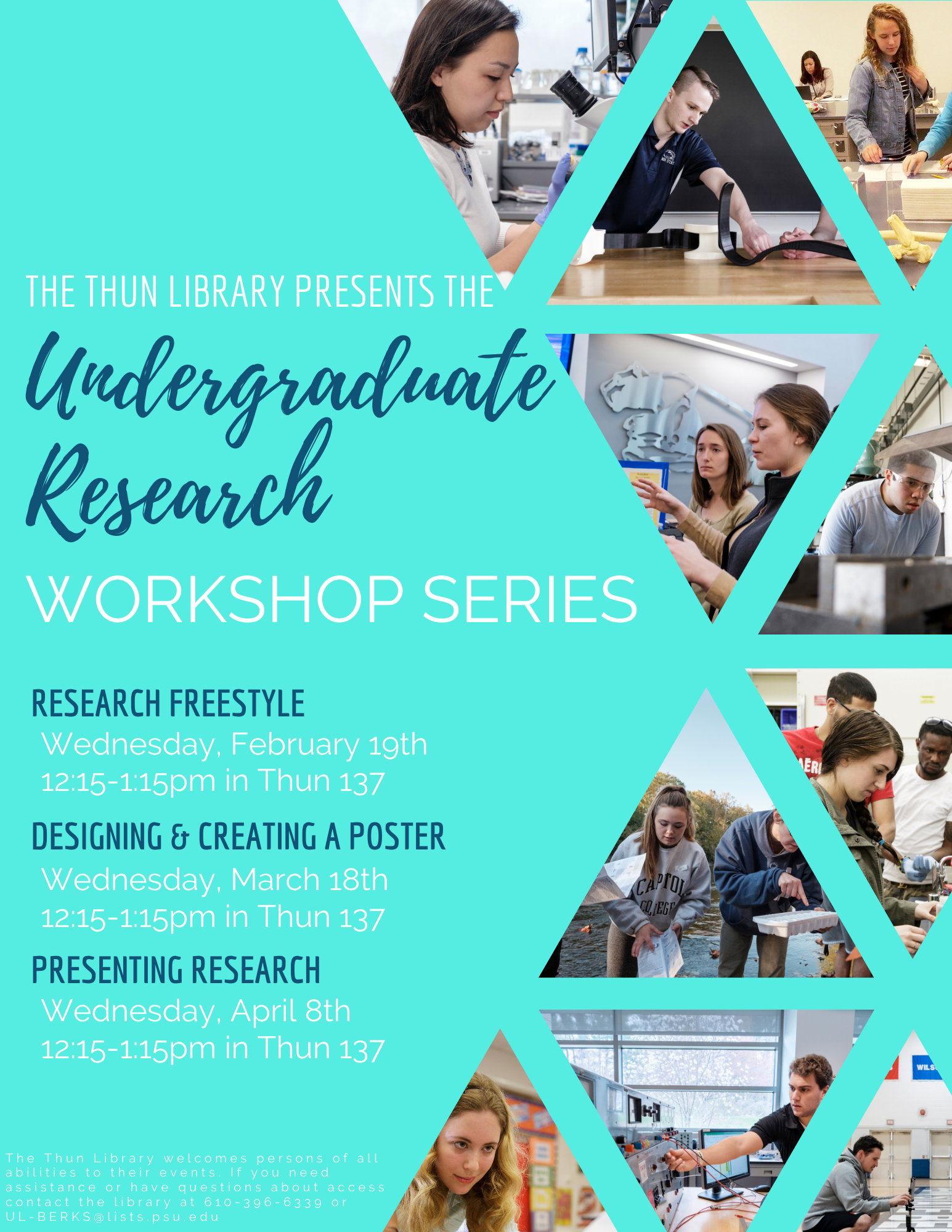 Undergraduate Research Workshops.  Research: Source Discovery & Management, Wednesday 2/19 from 12:15-1:15pm in Thun 137.  Designing & Creating a Poster, Wednesday 3/18 from 12:15-1:15pm in Thun 137.  Presenting Research, Wednesday 4/8 from 12:15-1:15pm in Thun 137.