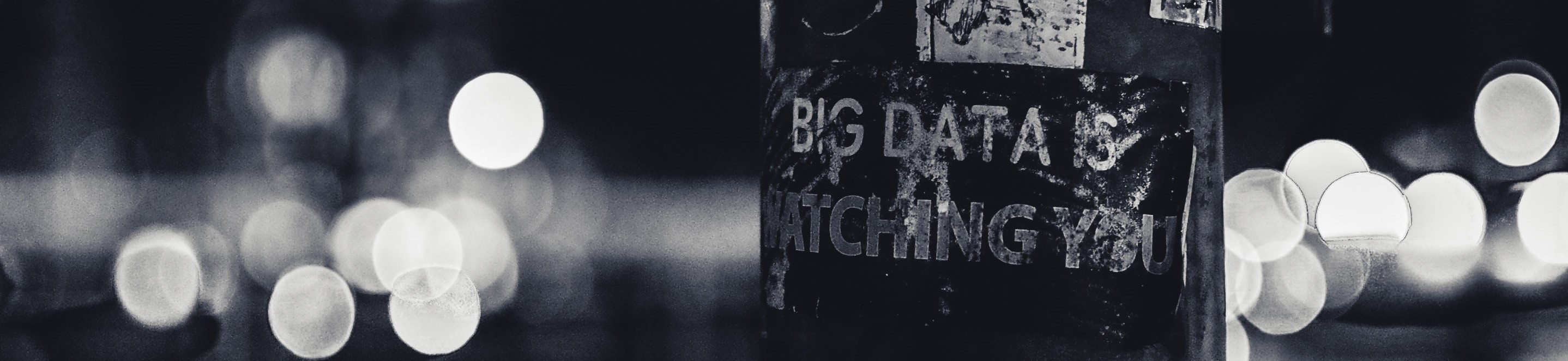 black and white photo with blurred background and 'big data is watching you' text.