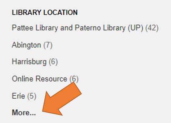 "Library Location filter showing the ""more"" option"