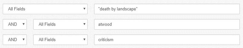 "Sample search showing ""death by landscape"" in the first search box, atwood in the second search box and criticism in the third search box"