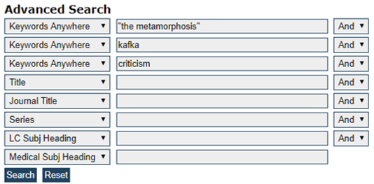 "The CAT Advanced Search - ""the metamorphosis"" AND kafka AND criticism"