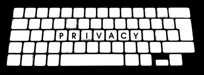 blank white keyboard on a black background with the word 'privacy' in the middle