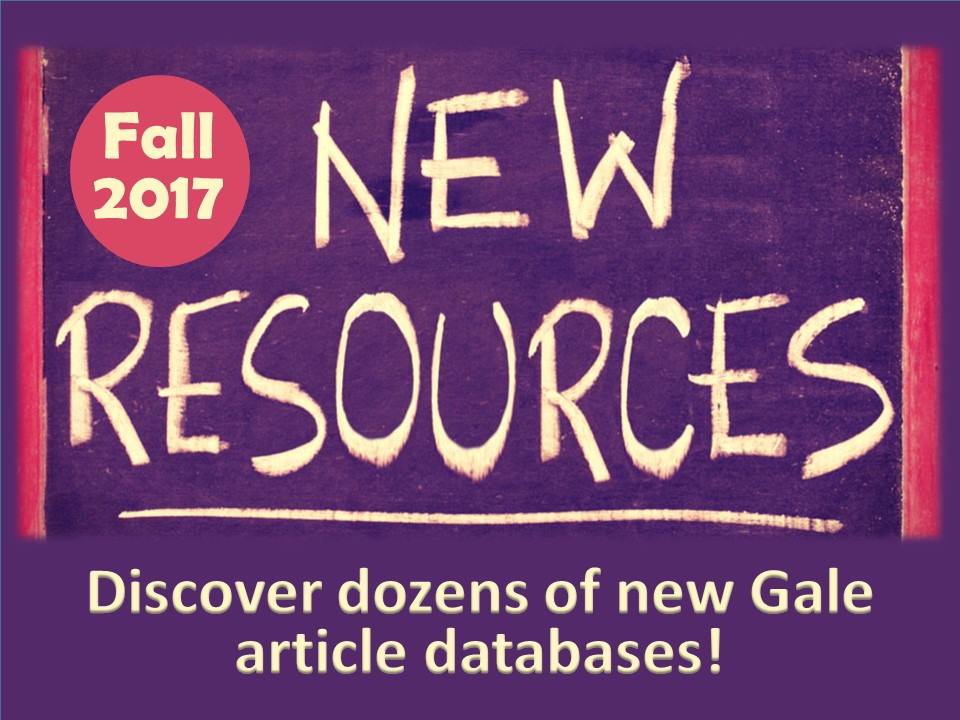 New Resources Fall 2017