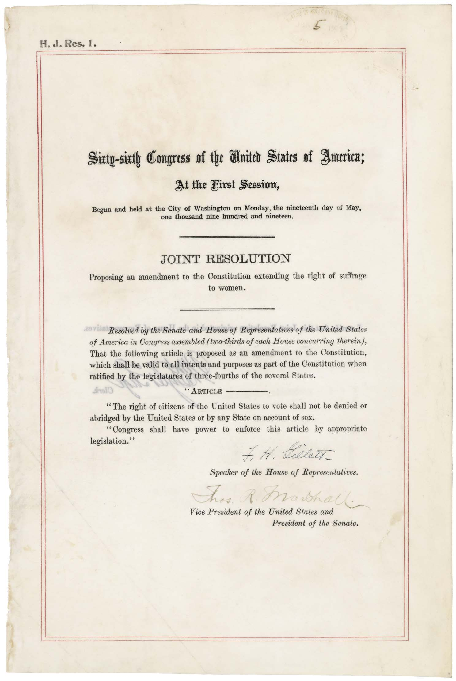 The 19th Amendment, signed by leaders of the House and Senate
