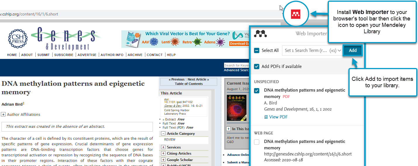 Install Web Importer to your browser's tool bar then click the icon to open your Mendeley Library, then click Add to import items to your library.