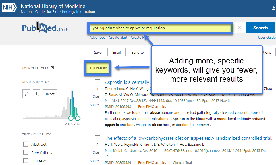 add more specific keywords to get fewer more relevant results