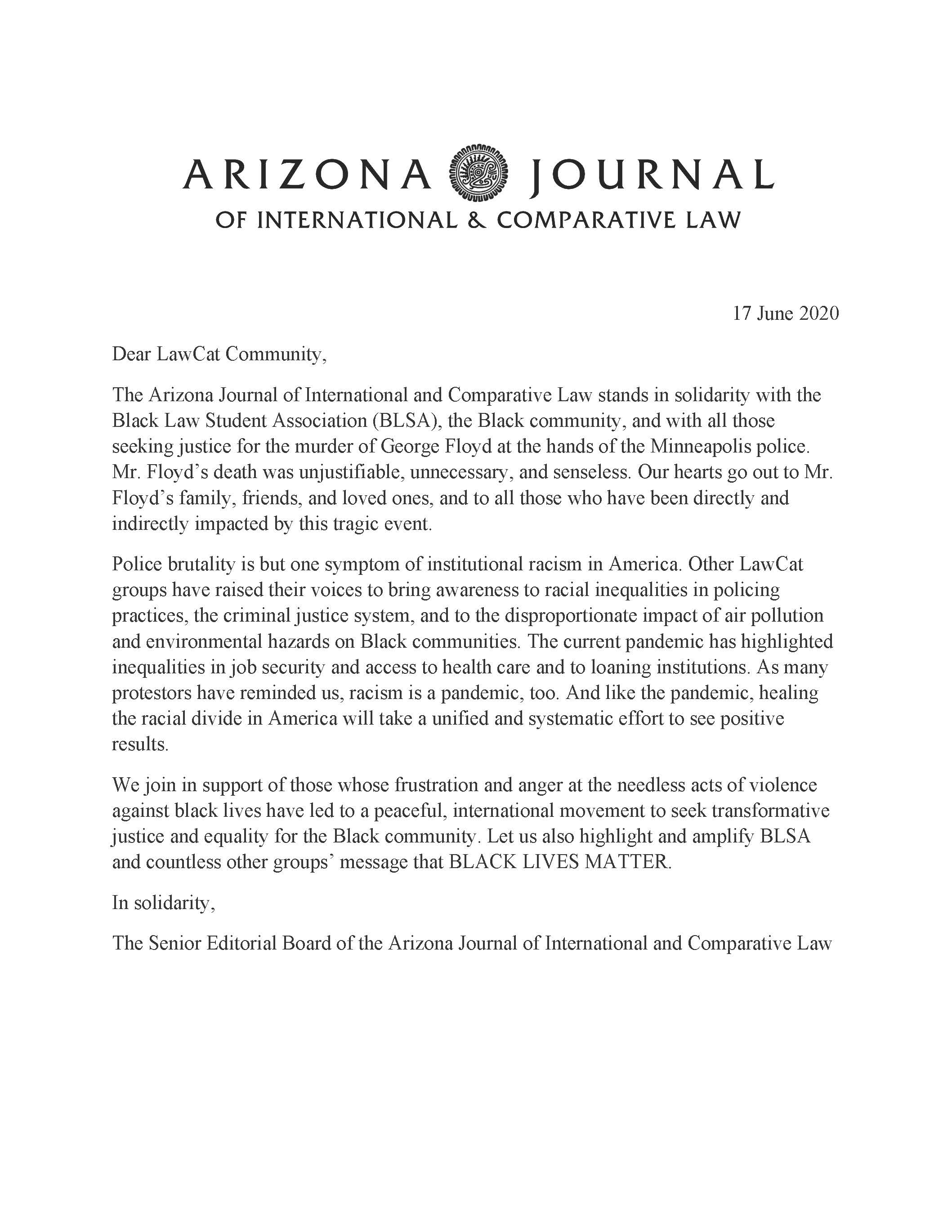 AJICL Solidarity Statement